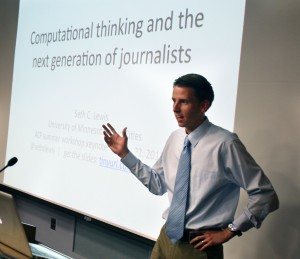 Seth Lewis of the University of Minnesota presents a lecture on computational thinking and computational journalism